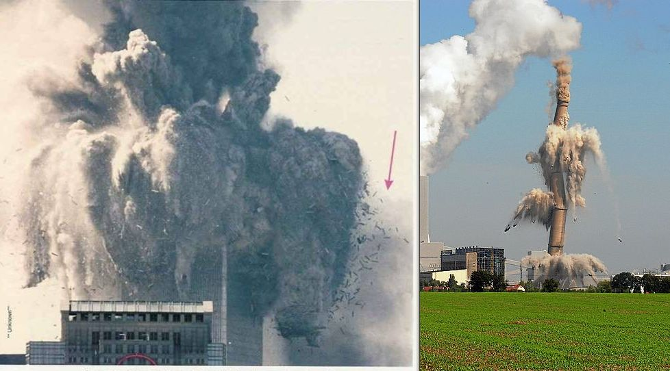 September 11 World Trade Center demolition compared with smokestack demolition.