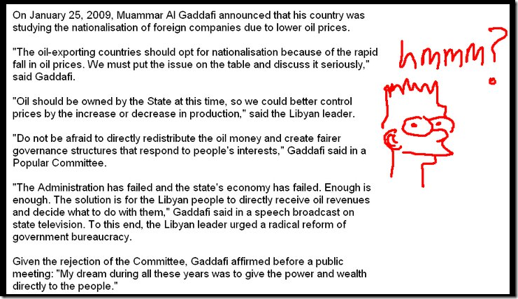 Gaddafi Comments on Nationalixation of oil.