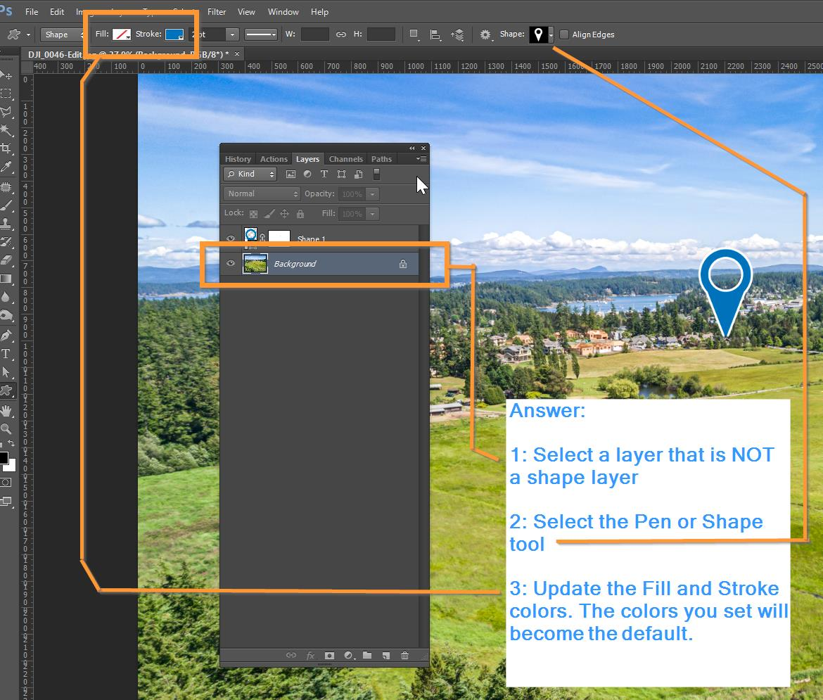 how to get pen shape tool in photoshop to remember colors